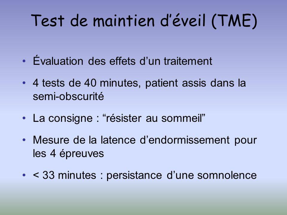 Test de maintien déveil (TME) Évaluation des effets dun traitement 4 tests de 40 minutes, patient assis dans la semi-obscurité La consigne : résister