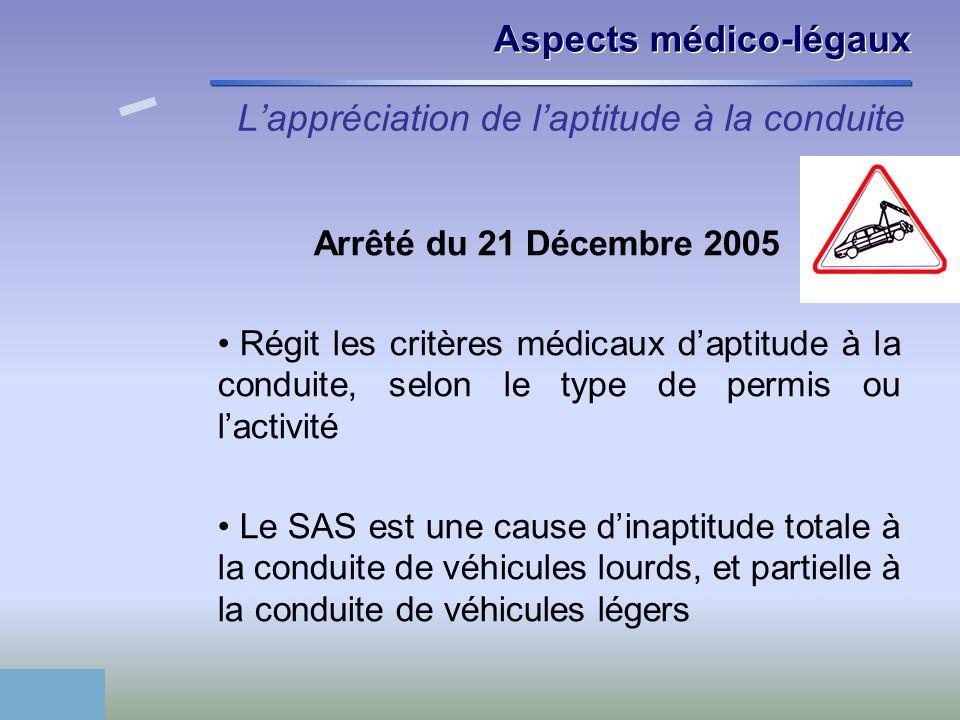 Lappréciation de laptitude à la conduite Arrêté du 21 Décembre 2005 Régit les critères médicaux daptitude à la conduite, selon le type de permis ou la
