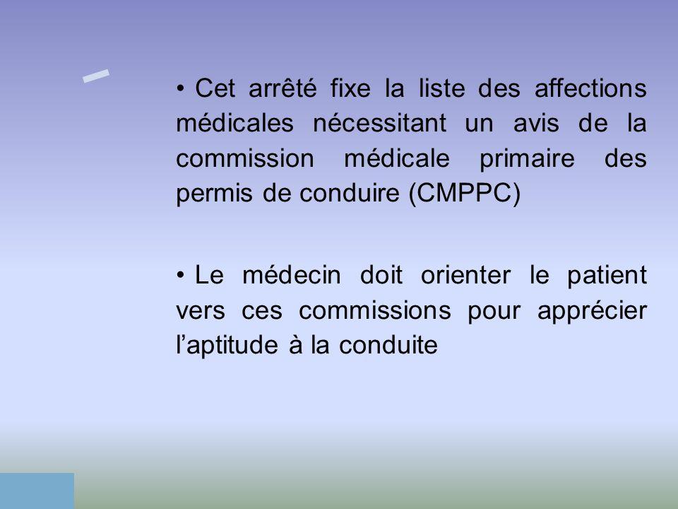 Cet arrêté fixe la liste des affections médicales nécessitant un avis de la commission médicale primaire des permis de conduire (CMPPC) Le médecin doi