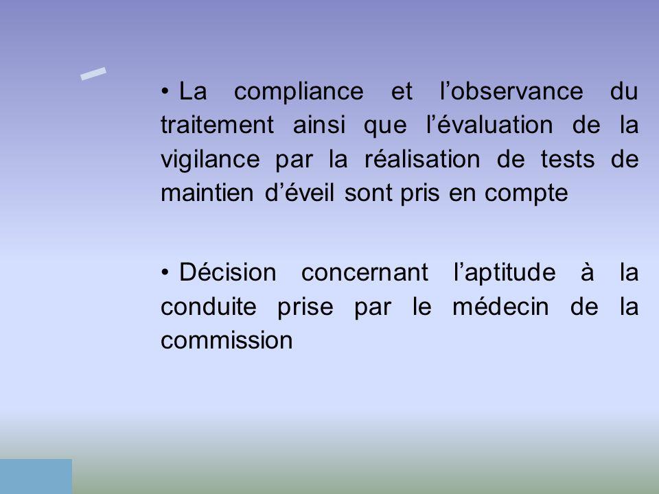 La compliance et lobservance du traitement ainsi que lévaluation de la vigilance par la réalisation de tests de maintien déveil sont pris en compte Dé