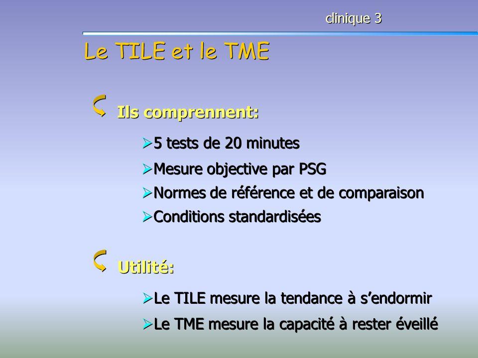 Le TILE et le TME clinique 3 Ils comprennent: 5 tests de 20 minutes Mesure objective par PSG Normes de référence et de comparaison Conditions standard