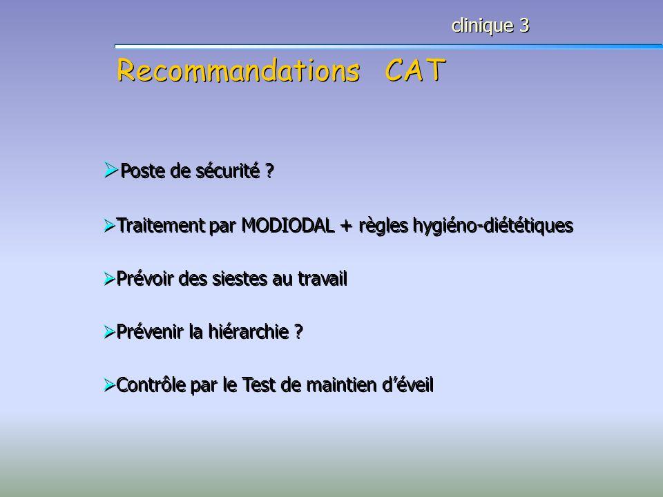 Recommandations CAT clinique 3 Poste de sécurité ? Traitement par MODIODAL + règles hygiéno-diététiques Prévoir des siestes au travail Prévenir la hié