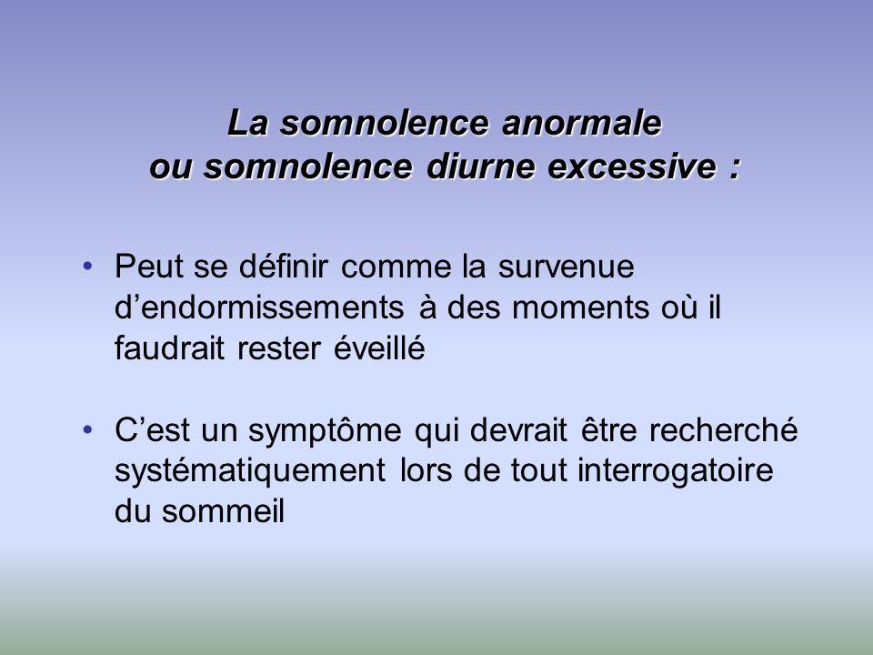 La somnolence anormale ou somnolence diurne excessive : Peut se définir comme la survenue dendormissements à des moments où il faudrait rester éveillé