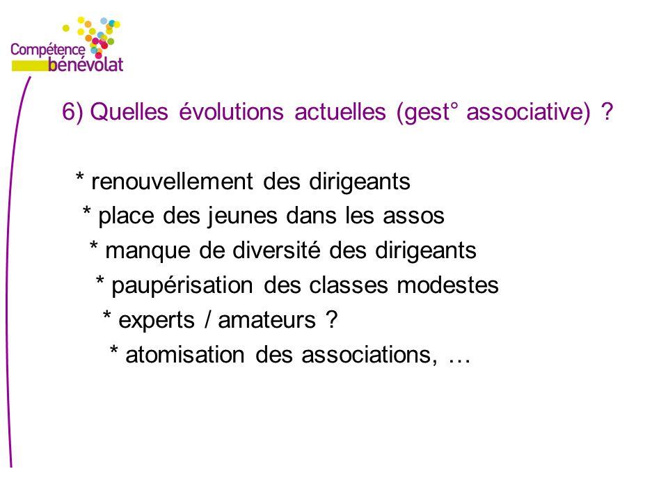 6) Quelles évolutions actuelles (gest° associative) .