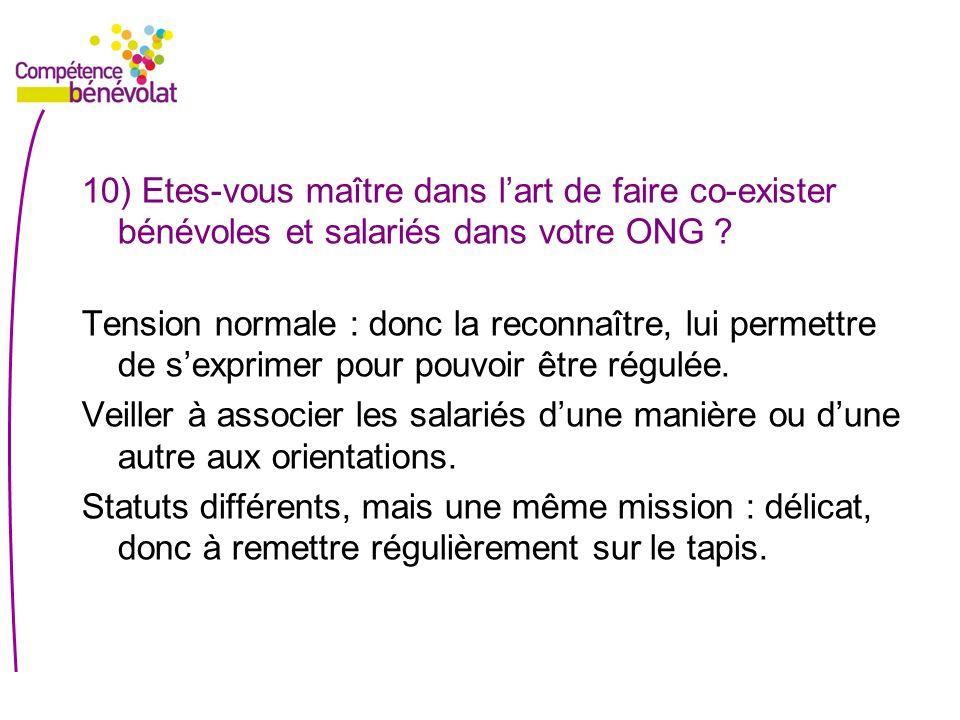 10) Etes-vous maître dans lart de faire co-exister bénévoles et salariés dans votre ONG ? Tension normale : donc la reconnaître, lui permettre de sexp
