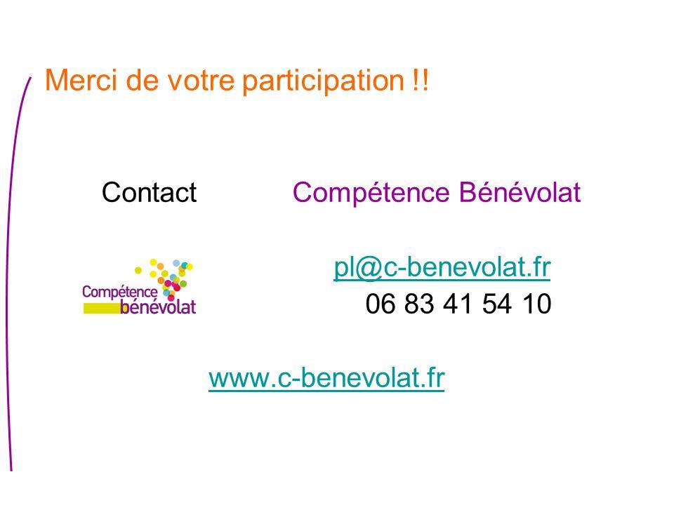 Merci de votre participation !! Contact Compétence Bénévolat pl@c-benevolat.fr 06 83 41 54 10 www.c-benevolat.fr