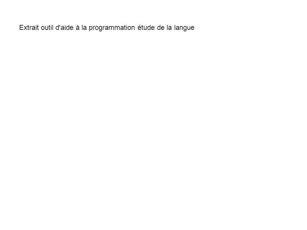 Extrait outil d'aide à la programmation étude de la langue
