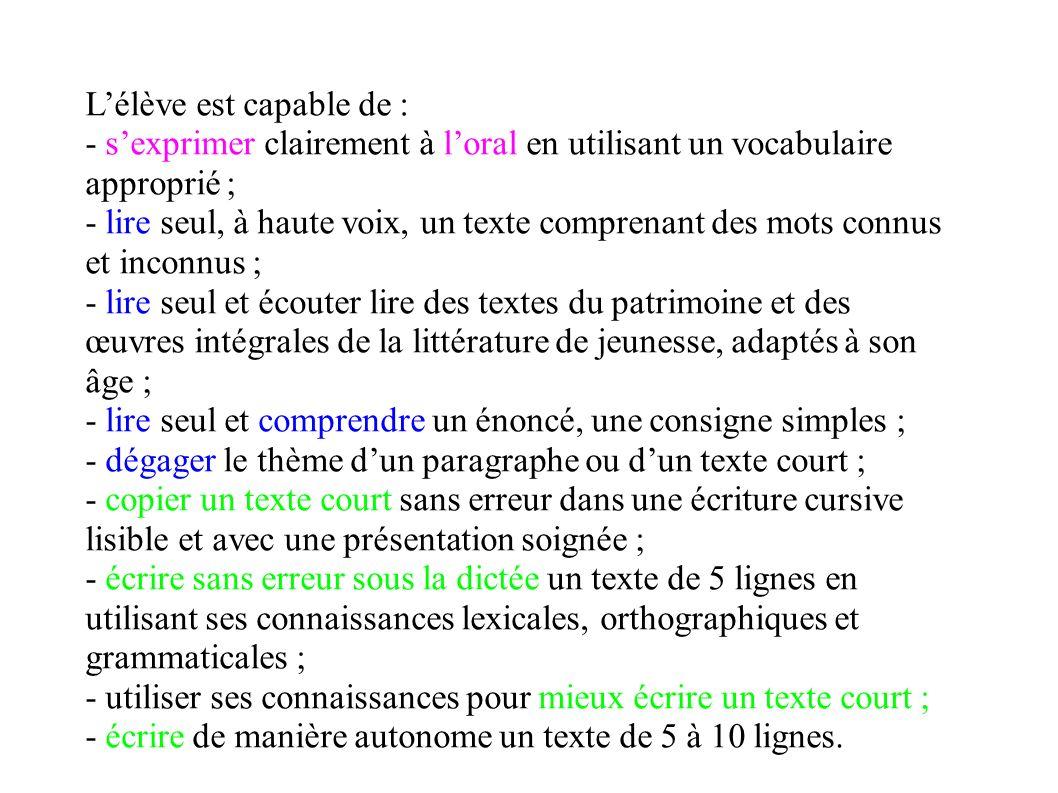 Lélève est capable de : - sexprimer clairement à loral en utilisant un vocabulaire approprié ; - lire seul, à haute voix, un texte comprenant des mots