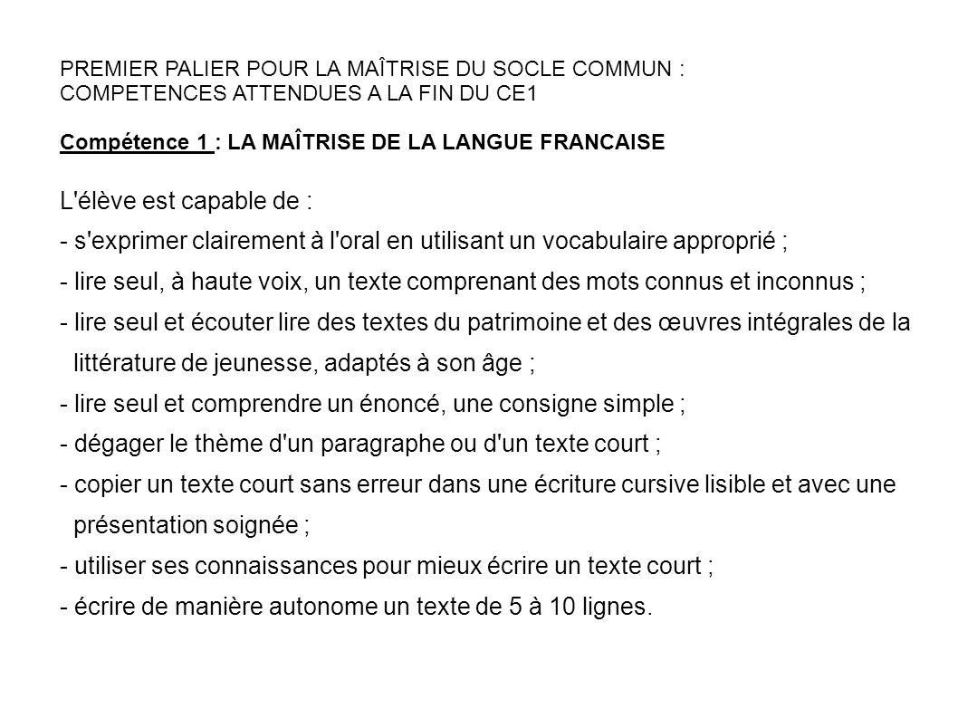 PREMIER PALIER POUR LA MAÎTRISE DU SOCLE COMMUN : COMPETENCES ATTENDUES A LA FIN DU CE1 Compétence 1 : LA MAÎTRISE DE LA LANGUE FRANCAISE L'élève est