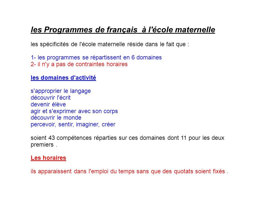 les Programmes de français à l'école maternelle les spécificités de l'école maternelle réside dans le fait que : 1- les programmes se répartissent en