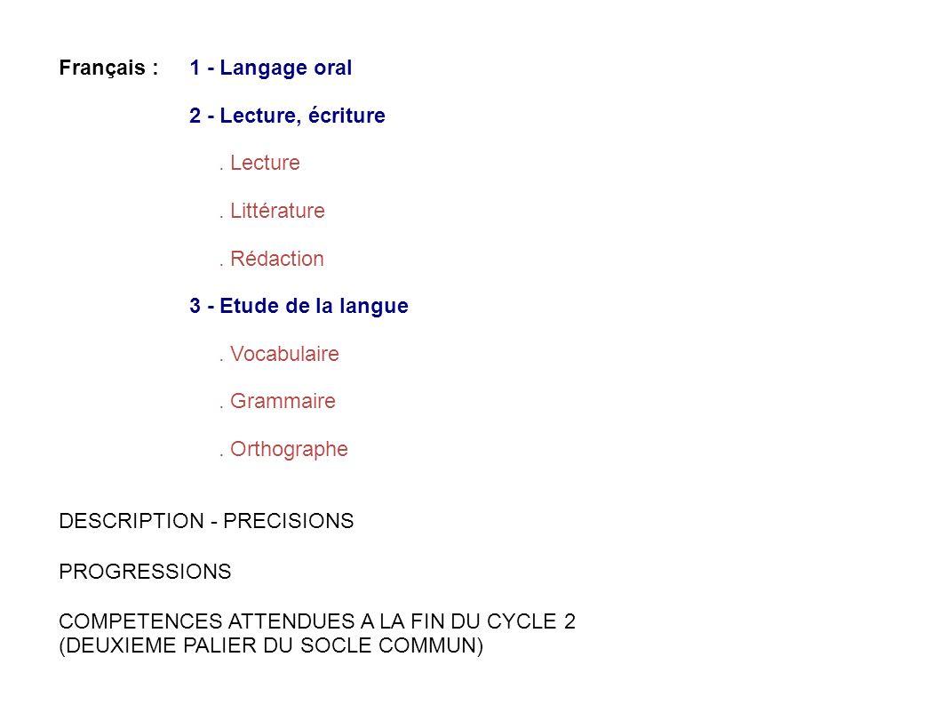 Français : 1 - Langage oral 2 - Lecture, écriture. Lecture. Littérature. Rédaction 3 - Etude de la langue. Vocabulaire. Grammaire. Orthographe DESCRIP