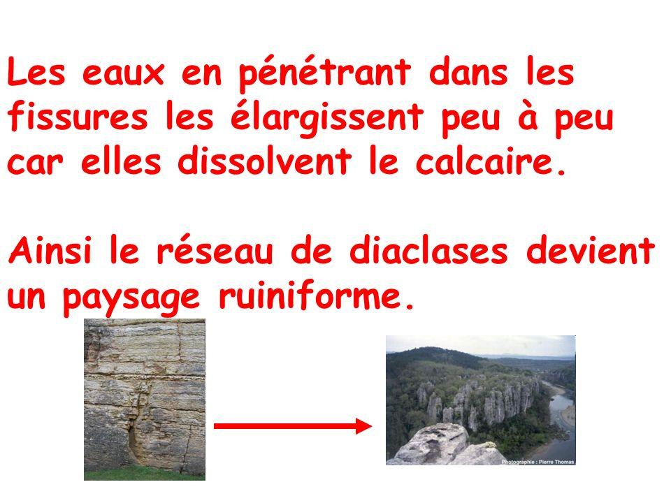 Les eaux en pénétrant dans les fissures les élargissent peu à peu car elles dissolvent le calcaire. Ainsi le réseau de diaclases devient un paysage ru