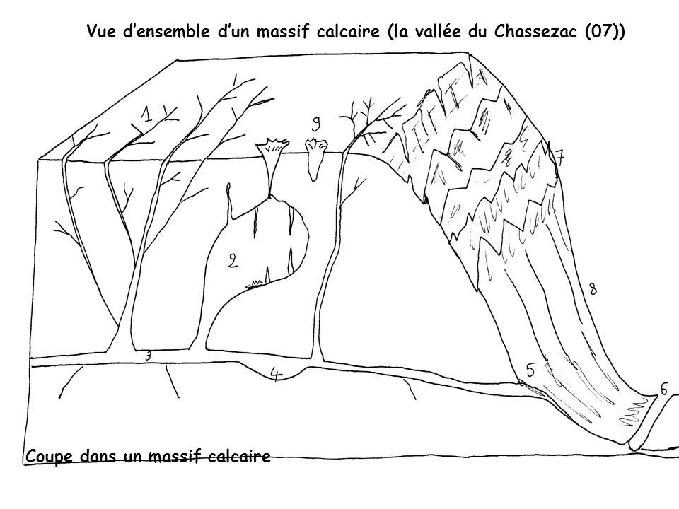 Vue densemble dun massif calcaire (la vallée du Chassezac (07)) planet-terre.ens-lyon.fr/planetterre/objets/i... Coupe dans un massif calcaire