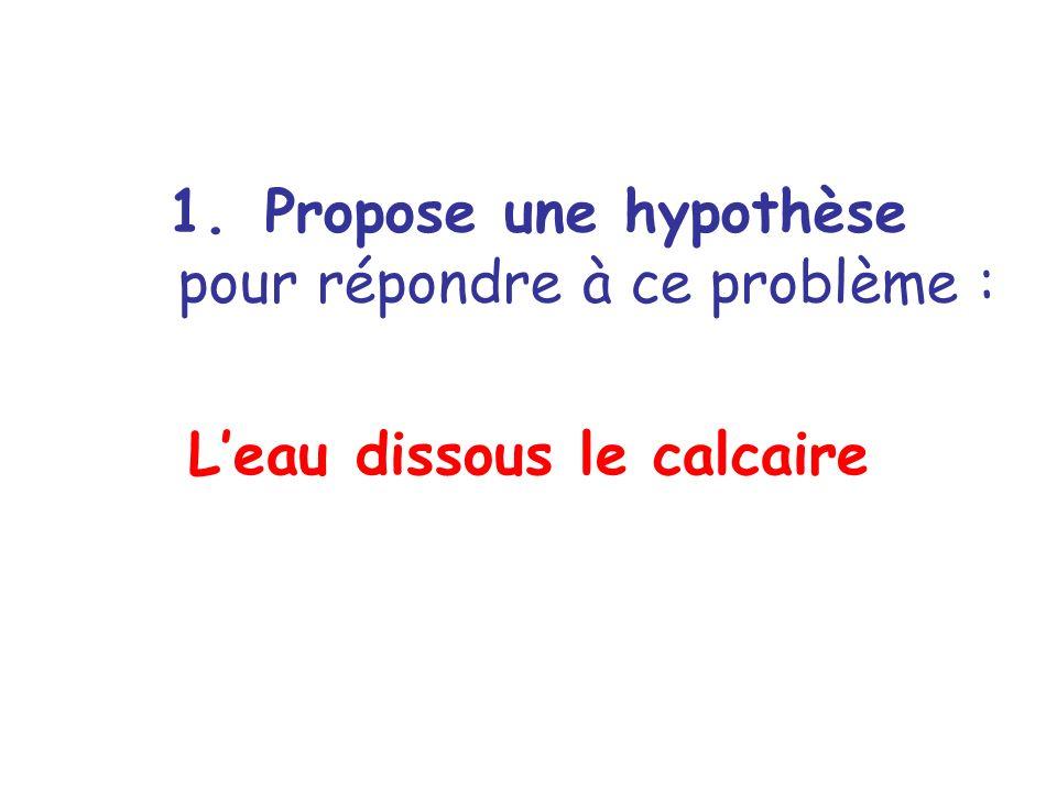 1.Propose une hypothèse pour répondre à ce problème : Leau dissous le calcaire