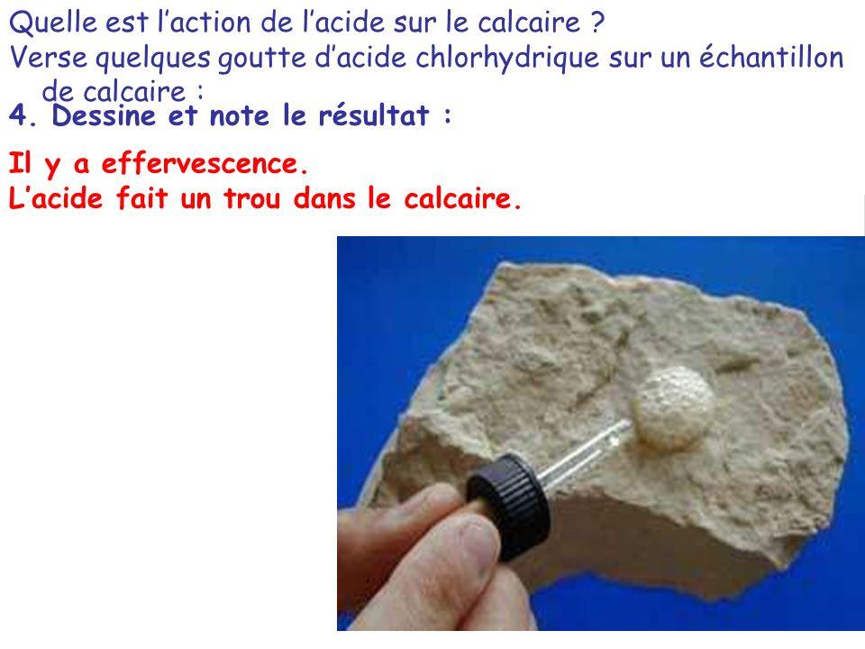 Quelle est laction de lacide sur le calcaire ? Verse quelques goutte dacide chlorhydrique sur un échantillon de calcaire : HCl 4. Dessine et note le r