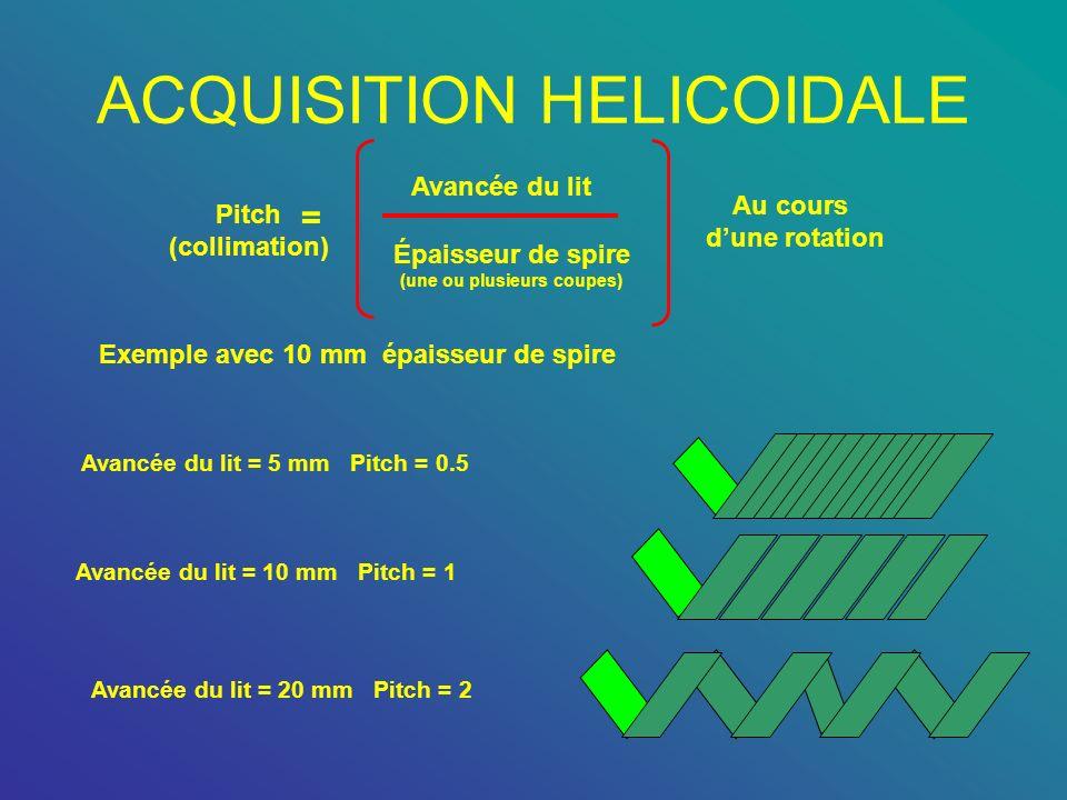 ACQUISITION HELICOIDALE Pitch (collimation) = Avancée du lit Épaisseur de spire (une ou plusieurs coupes) Au cours dune rotation Exemple avec 10 mm ép