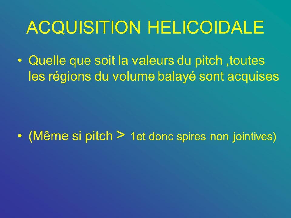 ACQUISITION HELICOIDALE Quelle que soit la valeurs du pitch,toutes les régions du volume balayé sont acquises (Même si pitch > 1et donc spires non joi
