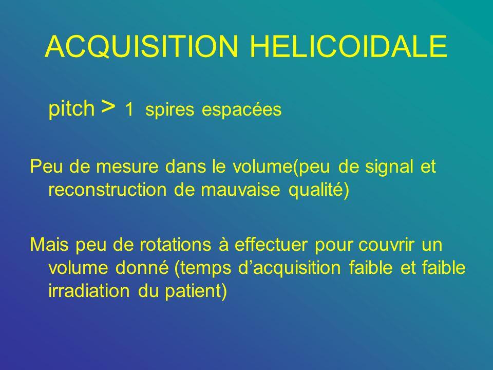 ACQUISITION HELICOIDALE pitch > 1 spires espacées Peu de mesure dans le volume(peu de signal et reconstruction de mauvaise qualité) Mais peu de rotati