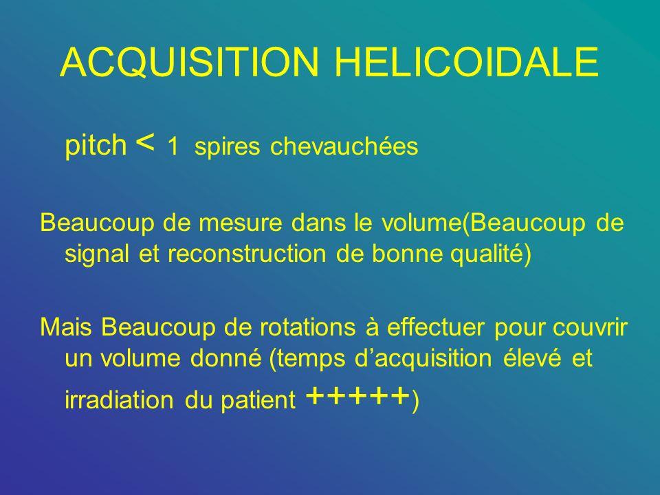 ACQUISITION HELICOIDALE pitch < 1 spires chevauchées Beaucoup de mesure dans le volume(Beaucoup de signal et reconstruction de bonne qualité) Mais Bea