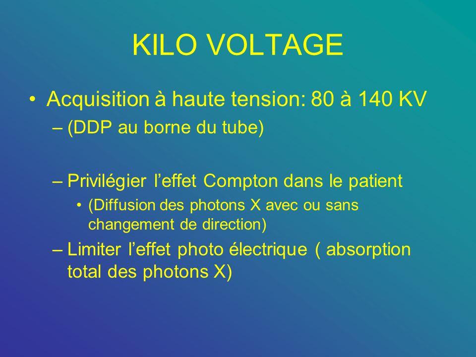 KILO VOLTAGE Acquisition à haute tension: 80 à 140 KV –(DDP au borne du tube) –Privilégier leffet Compton dans le patient (Diffusion des photons X ave