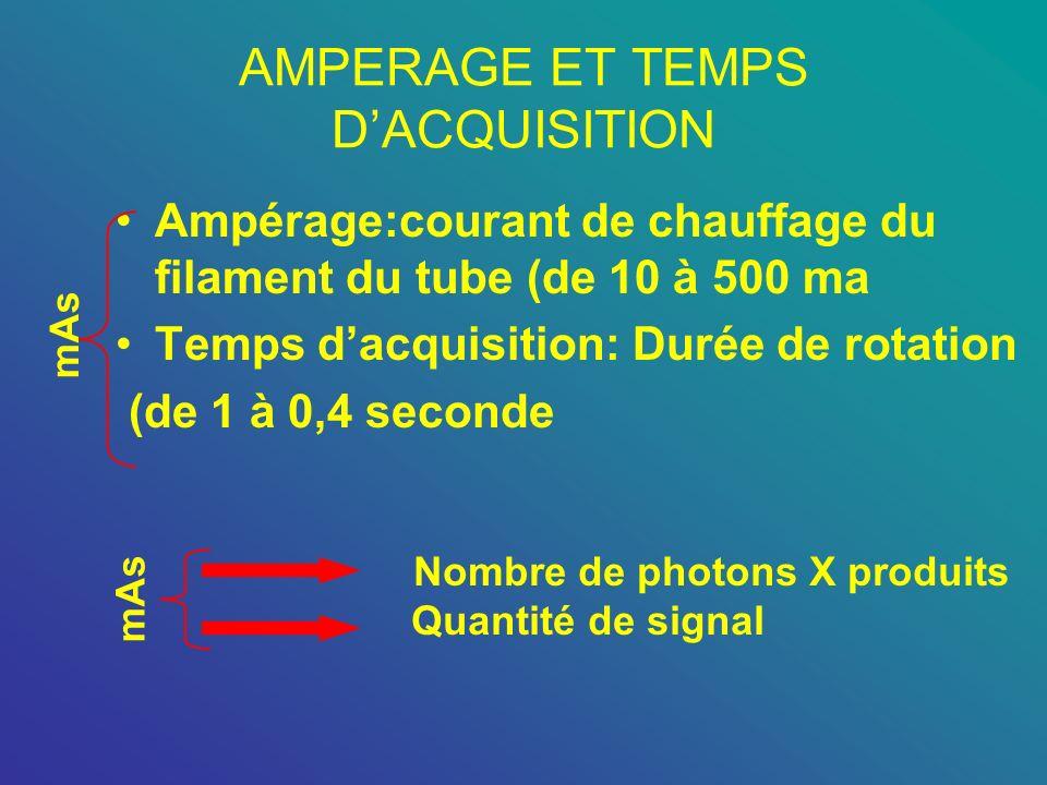 AMPERAGE ET TEMPS DACQUISITION Ampérage:courant de chauffage du filament du tube (de 10 à 500 ma Temps dacquisition: Durée de rotation (de 1 à 0,4 sec