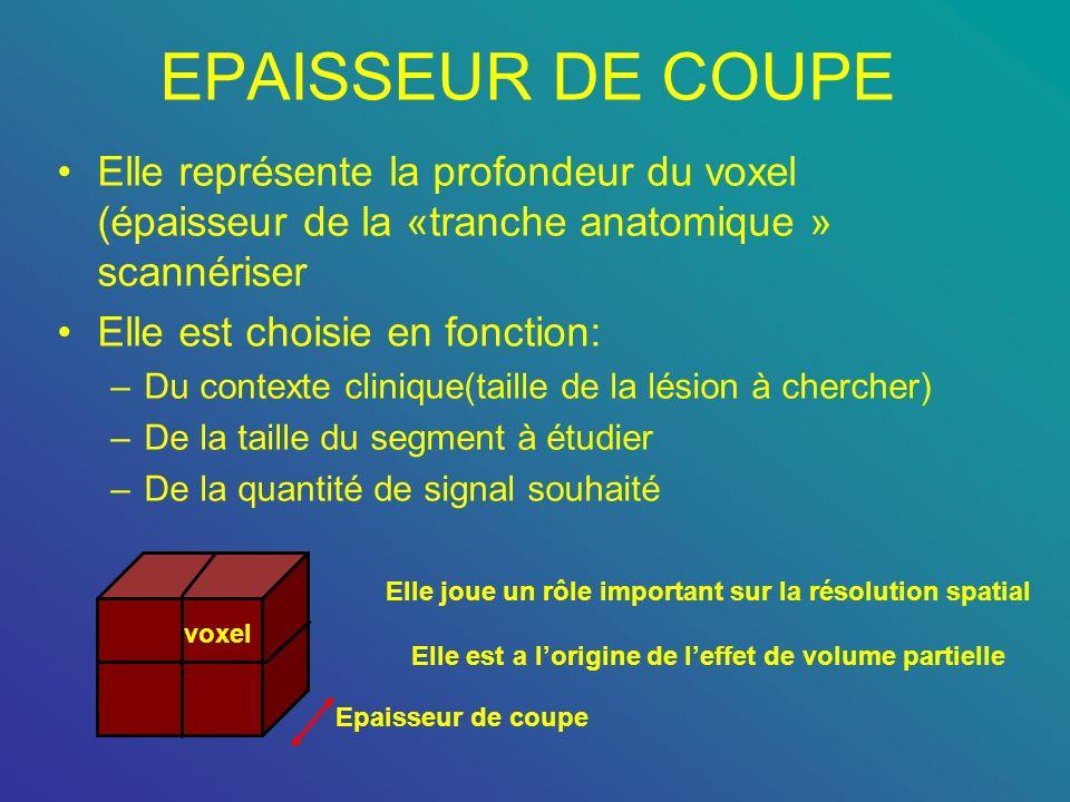 EPAISSEUR DE COUPE Elle représente la profondeur du voxel (épaisseur de la «tranche anatomique » scannériser Elle est choisie en fonction: –Du context
