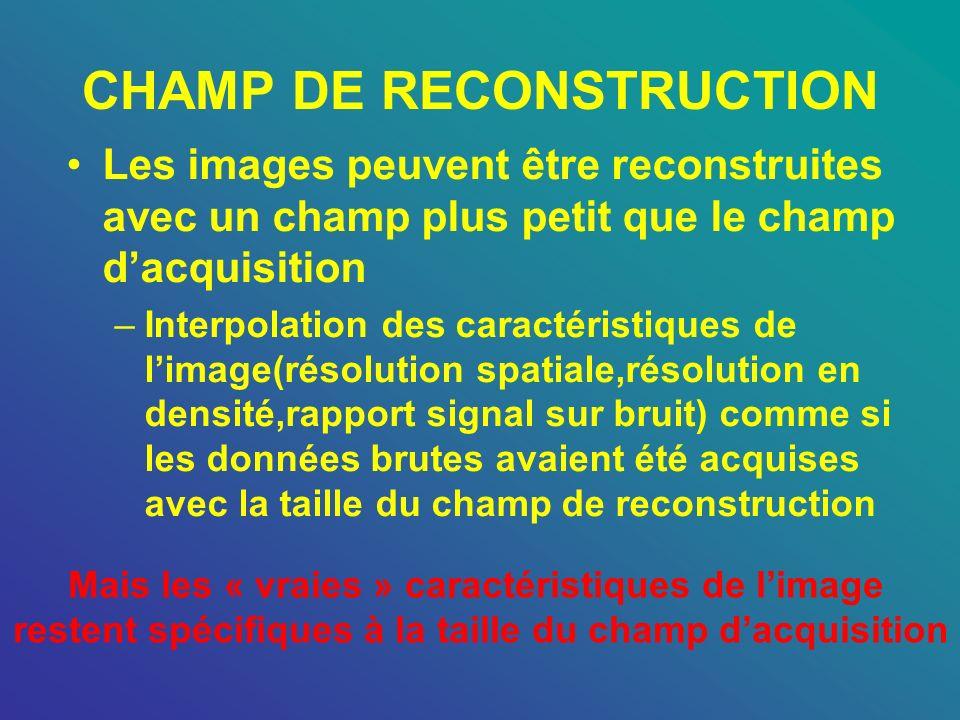 CHAMP DE RECONSTRUCTION Les images peuvent être reconstruites avec un champ plus petit que le champ dacquisition –Interpolation des caractéristiques d