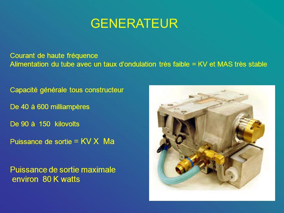 GENERATEUR Courant de haute fréquence Alimentation du tube avec un taux dondulation très faible = KV et MAS très stable Capacité générale tous constru