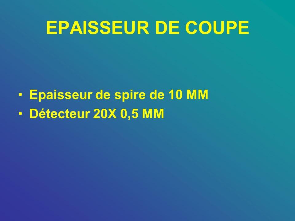 EPAISSEUR DE COUPE Epaisseur de spire de 10 MM Détecteur 20X 0,5 MM