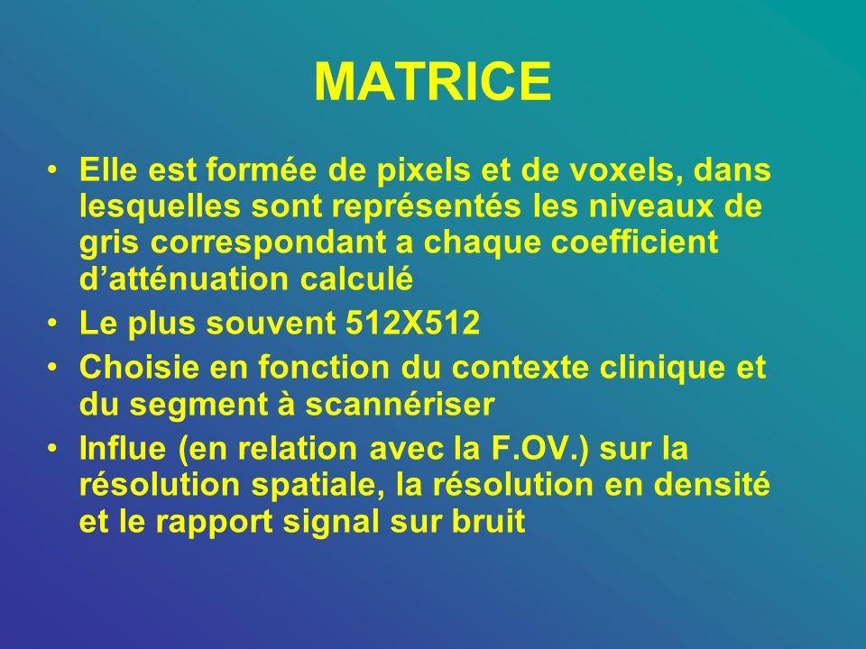 MATRICE Elle est formée de pixels et de voxels, dans lesquelles sont représentés les niveaux de gris correspondant a chaque coefficient datténuation c