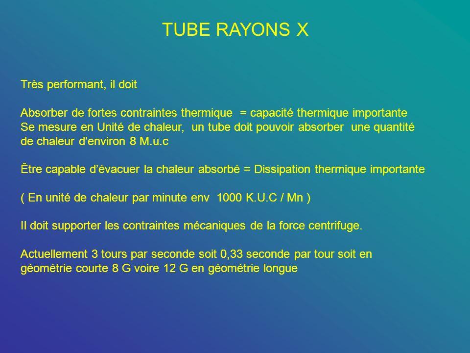 TUBE RAYONS X Très performant, il doit Absorber de fortes contraintes thermique = capacité thermique importante Se mesure en Unité de chaleur, un tube