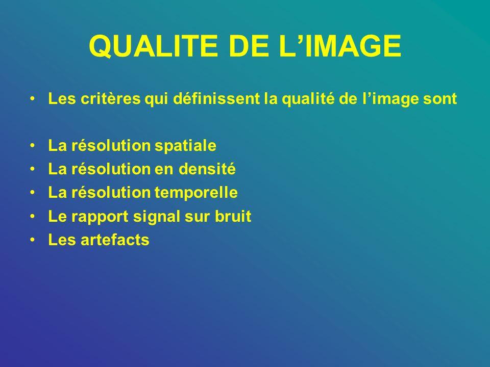 QUALITE DE LIMAGE Les critères qui définissent la qualité de limage sont La résolution spatiale La résolution en densité La résolution temporelle Le r