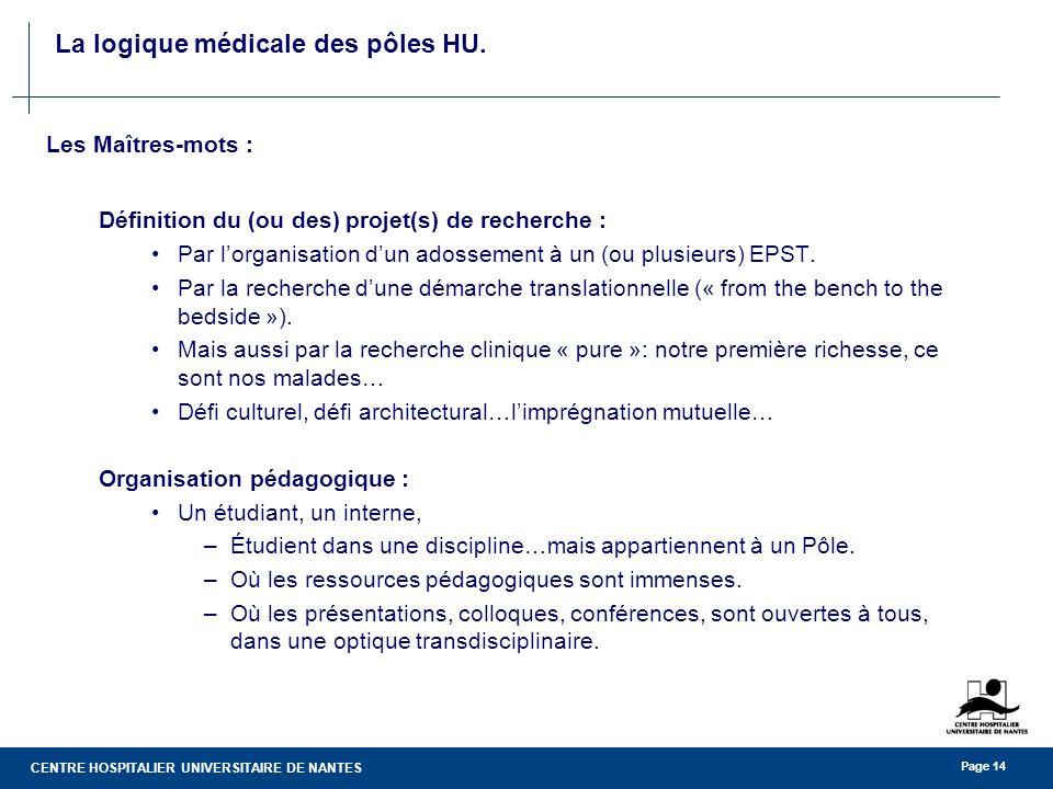 CENTRE HOSPITALIER UNIVERSITAIRE DE NANTES Page 14 La logique médicale des pôles HU. Les Maîtres-mots : Définition du (ou des) projet(s) de recherche