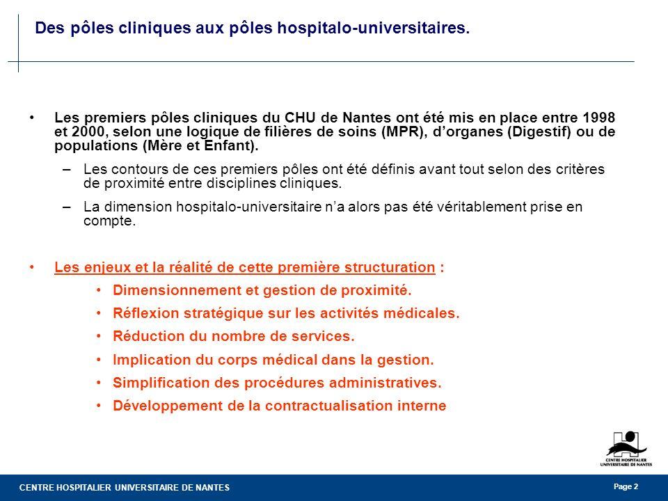 CENTRE HOSPITALIER UNIVERSITAIRE DE NANTES Page 2 Des pôles cliniques aux pôles hospitalo-universitaires. Les premiers pôles cliniques du CHU de Nante