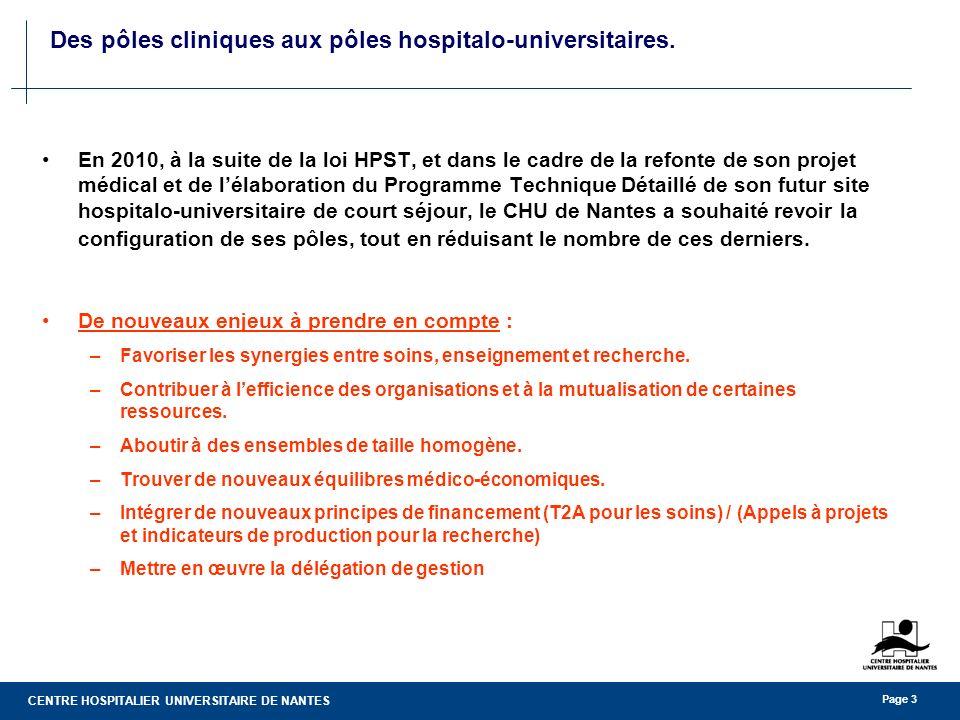 CENTRE HOSPITALIER UNIVERSITAIRE DE NANTES Page 3 Des pôles cliniques aux pôles hospitalo-universitaires. En 2010, à la suite de la loi HPST, et dans
