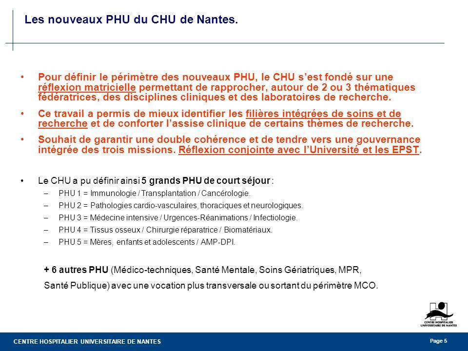 CENTRE HOSPITALIER UNIVERSITAIRE DE NANTES Page 5 Les nouveaux PHU du CHU de Nantes. Pour définir le périmètre des nouveaux PHU, le CHU sest fondé sur