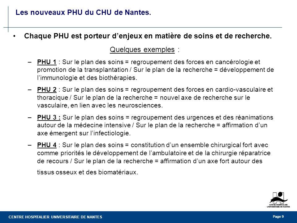 CENTRE HOSPITALIER UNIVERSITAIRE DE NANTES Page 9 Les nouveaux PHU du CHU de Nantes. Chaque PHU est porteur denjeux en matière de soins et de recherch