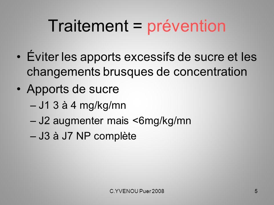 C.YVENOU Puer 20086 Traitement curatif Arrêt des médicaments non absolument nécessaires Diminution de la concentration du sucre dans les perfusions PROGRESSIVEMENT de 2 mg/kg/mn toutes les 4 à 6 heures (plus vite si glycémie > 2g/l) Eviter les solutions hypotoniques (<2.5%) Insuline si glycémie > 2.5 g/l malgré les mesures précédentes : –SC : 0.1 à 0.2 U/kg/6h –0.5 U/kg si pas de réponse Arrêt le plus vite possible