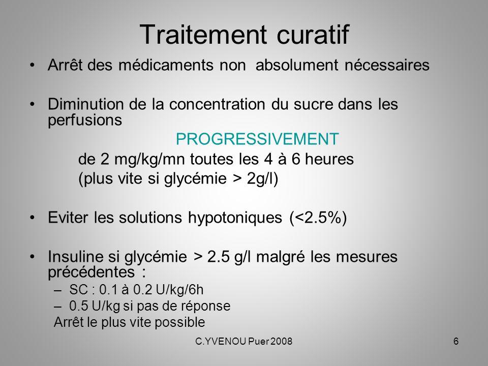 C.YVENOU Puer 20086 Traitement curatif Arrêt des médicaments non absolument nécessaires Diminution de la concentration du sucre dans les perfusions PR