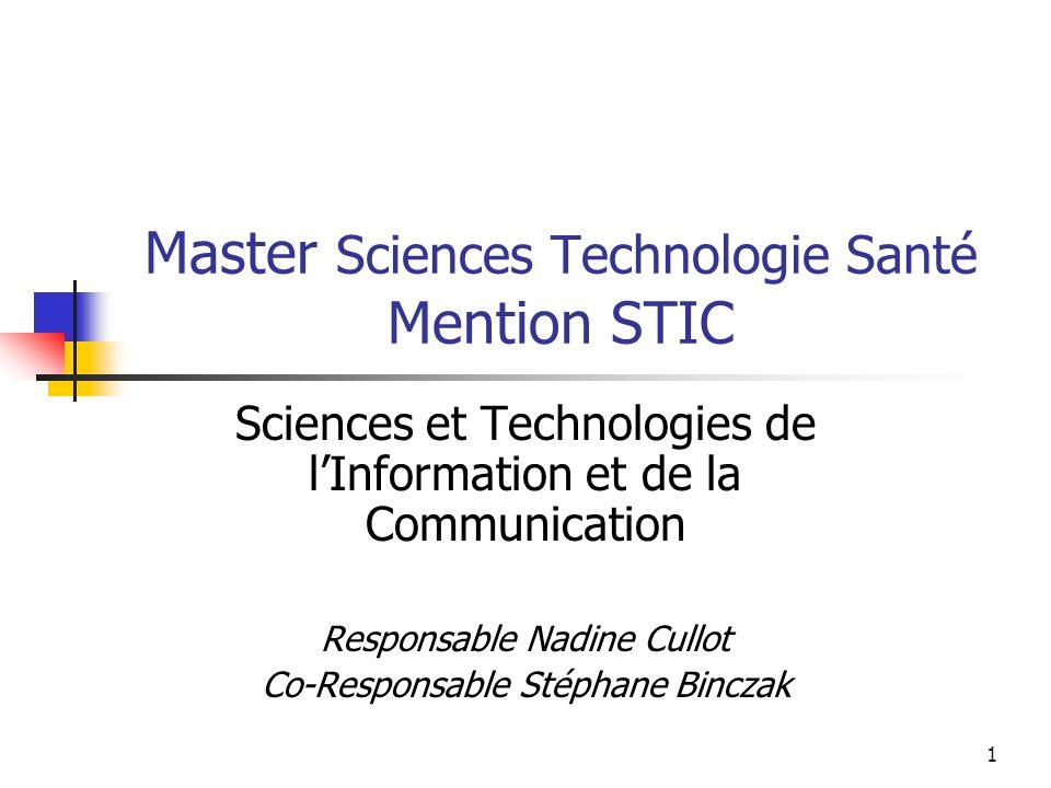 2 Organisation Master STS, Mention STIC 1 ère année Parcours Informatique Parcours Electronique Signal et Image (ESI)