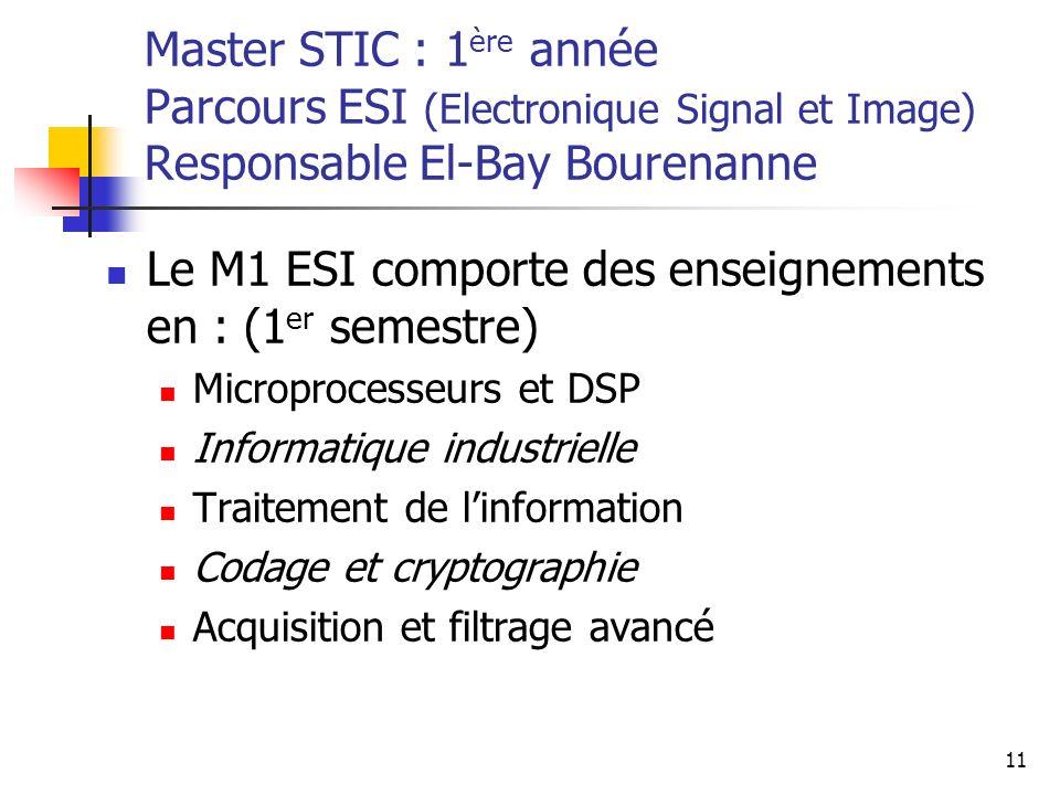11 Master STIC : 1 ère année Parcours ESI (Electronique Signal et Image) Responsable El-Bay Bourenanne Le M1 ESI comporte des enseignements en : (1 er semestre) Microprocesseurs et DSP Informatique industrielle Traitement de linformation Codage et cryptographie Acquisition et filtrage avancé