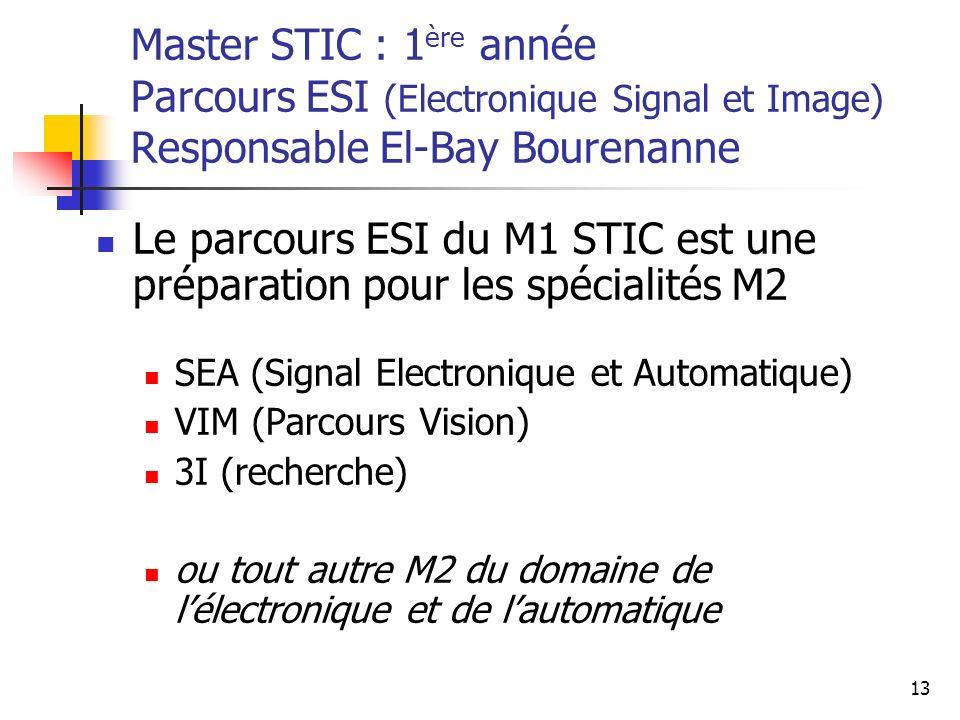 13 Master STIC : 1 ère année Parcours ESI (Electronique Signal et Image) Responsable El-Bay Bourenanne Le parcours ESI du M1 STIC est une préparation pour les spécialités M2 SEA (Signal Electronique et Automatique) VIM (Parcours Vision) 3I (recherche) ou tout autre M2 du domaine de lélectronique et de lautomatique