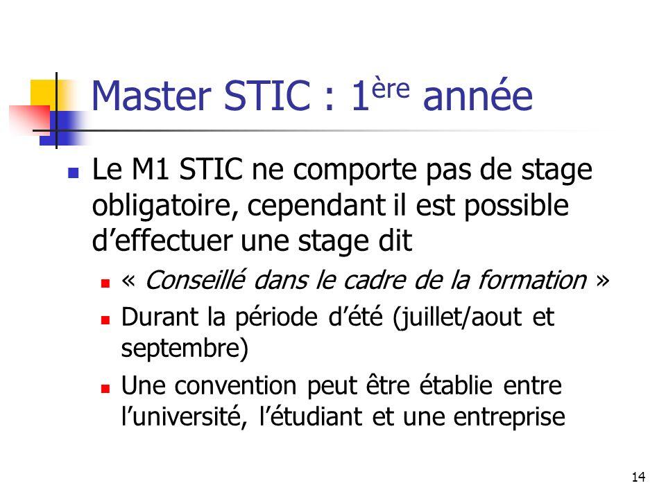 14 Master STIC : 1 ère année Le M1 STIC ne comporte pas de stage obligatoire, cependant il est possible deffectuer une stage dit « Conseillé dans le cadre de la formation » Durant la période dété (juillet/aout et septembre) Une convention peut être établie entre luniversité, létudiant et une entreprise
