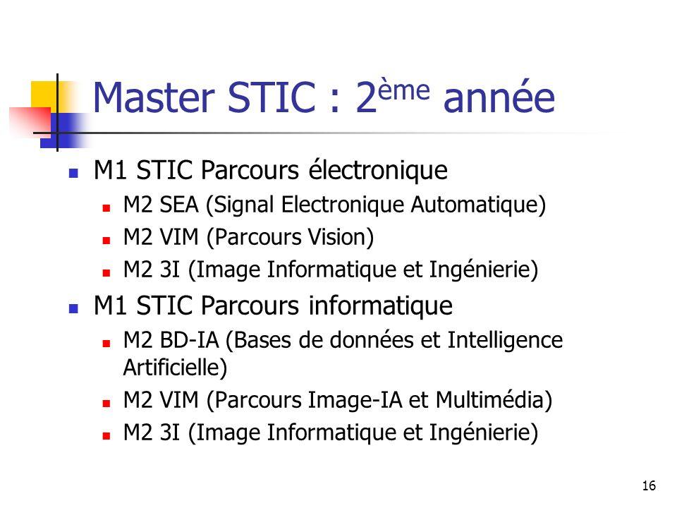 16 Master STIC : 2 ème année M1 STIC Parcours électronique M2 SEA (Signal Electronique Automatique) M2 VIM (Parcours Vision) M2 3I (Image Informatique et Ingénierie) M1 STIC Parcours informatique M2 BD-IA (Bases de données et Intelligence Artificielle) M2 VIM (Parcours Image-IA et Multimédia) M2 3I (Image Informatique et Ingénierie)