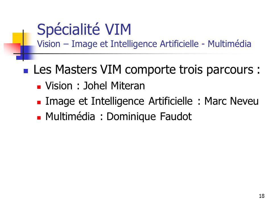 18 Spécialité VIM Vision – Image et Intelligence Artificielle - Multimédia Les Masters VIM comporte trois parcours : Vision : Johel Miteran Image et Intelligence Artificielle : Marc Neveu Multimédia : Dominique Faudot