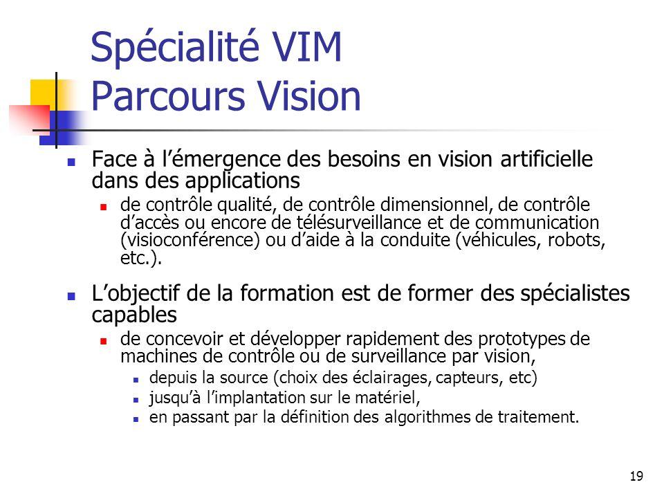 19 Spécialité VIM Parcours Vision Face à lémergence des besoins en vision artificielle dans des applications de contrôle qualité, de contrôle dimensionnel, de contrôle daccès ou encore de télésurveillance et de communication (visioconférence) ou daide à la conduite (véhicules, robots, etc.).