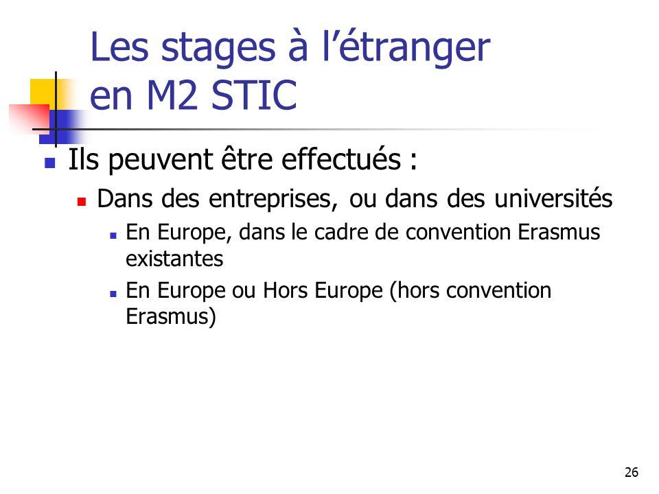 26 Les stages à létranger en M2 STIC Ils peuvent être effectués : Dans des entreprises, ou dans des universités En Europe, dans le cadre de convention Erasmus existantes En Europe ou Hors Europe (hors convention Erasmus)