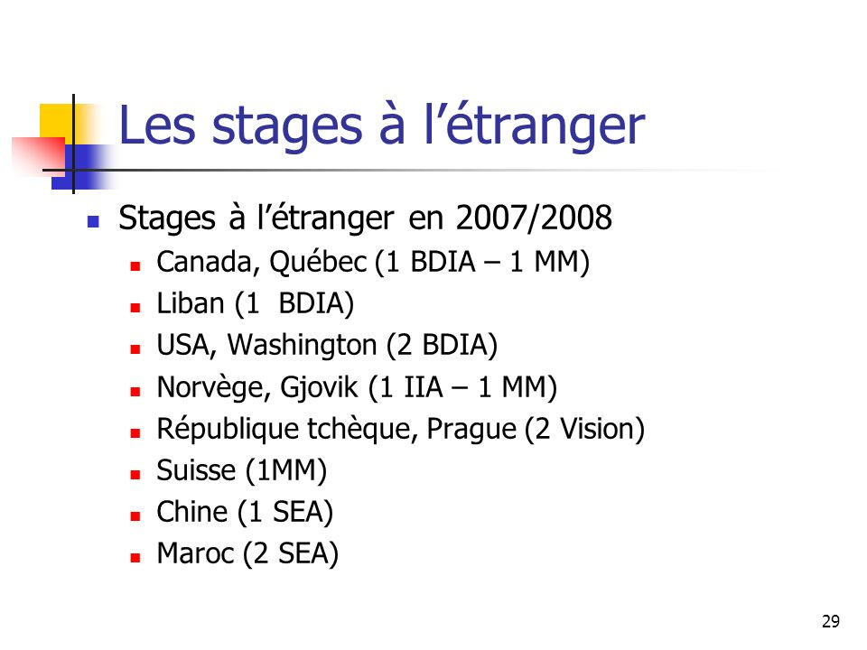 29 Les stages à létranger Stages à létranger en 2007/2008 Canada, Québec (1 BDIA – 1 MM) Liban (1 BDIA) USA, Washington (2 BDIA) Norvège, Gjovik (1 II
