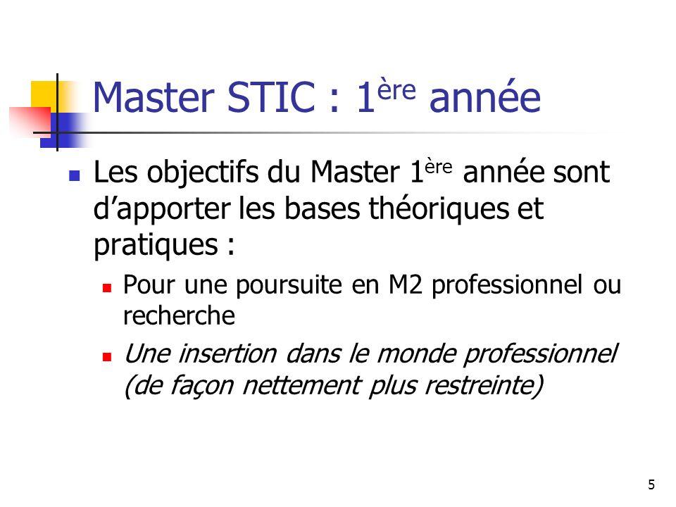 5 Master STIC : 1 ère année Les objectifs du Master 1 ère année sont dapporter les bases théoriques et pratiques : Pour une poursuite en M2 professionnel ou recherche Une insertion dans le monde professionnel (de façon nettement plus restreinte)