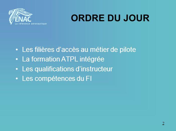 2 ORDRE DU JOUR Les filières daccès au métier de pilote La formation ATPL intégrée Les qualifications dinstructeur Les compétences du FI